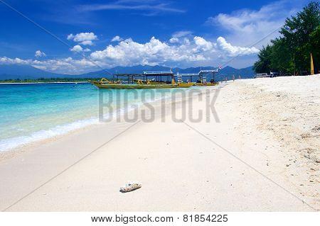 White empty beach on Gili Trawangan island