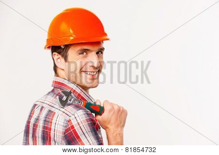 Handyman With Wrench.