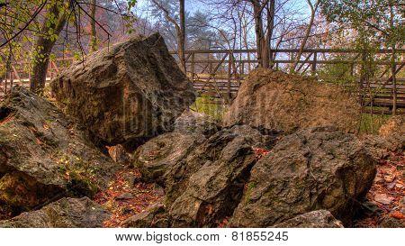 Rocks And Bridge In Hdr Fall Colors.
