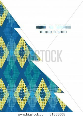 Vector colorful fabric ikat diamond Christmas tree silhouette pattern frame card template