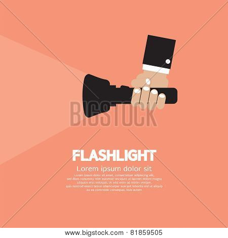 Hand Holding A Flashlight.