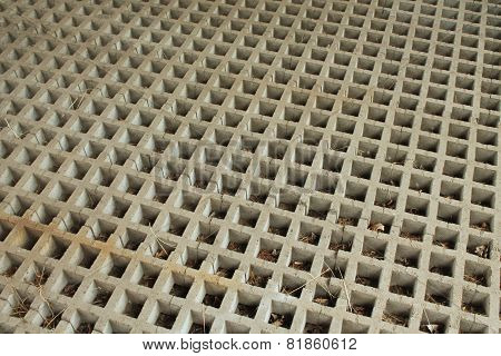 Cast Concrete Grid Horizontal Squares With Diagonal Braces