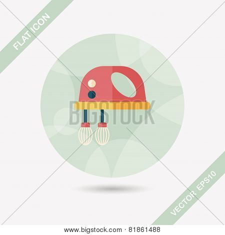 Kitchenware Electronic Beater Flat Icon With Long Shadow
