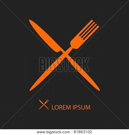 Crossed Orange Flatware On Black
