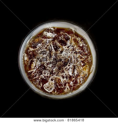Top View Of Ice Coffee On Black Background