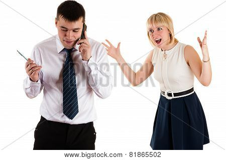 workaholic businessman and angry wife