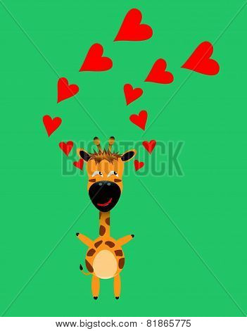 Tricky Giraffe Gartoon Character With Red Heart