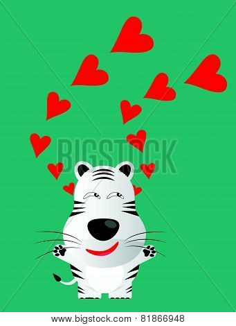 Tricky White Bengal Tiger Gartoon Character With Red Heart