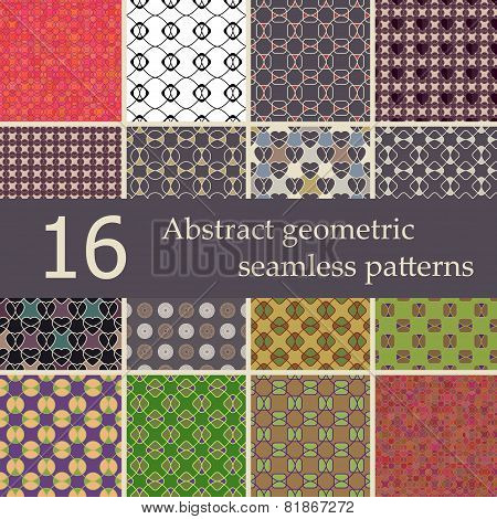 Collection Of Abstract Geometric Seamless Patterns