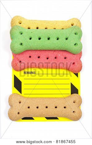dog biscuits and remarks label