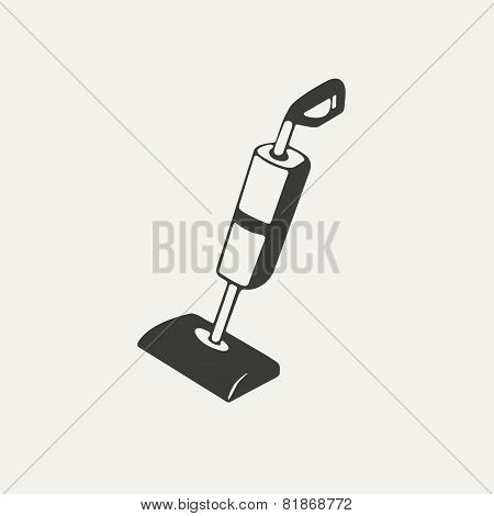 illustration of vacuum, cleaner. Black and white style
