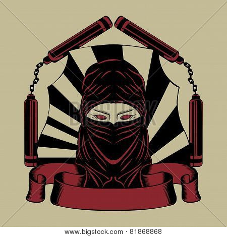 Illustration of  ninja head