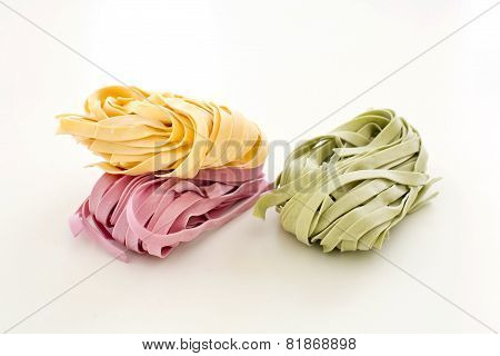 Bundles Of Dried Ribbon Color  Pasta