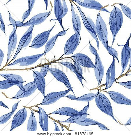 Blue leaves vector watercolor texture pattern.