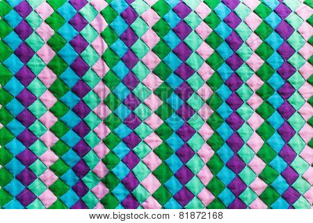 Colorful Thailand style rug surface close up vintage fabric is made of hand-woven cotton fabric More