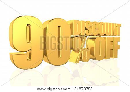 Discount 90 Percent Off. 3D Illustration.