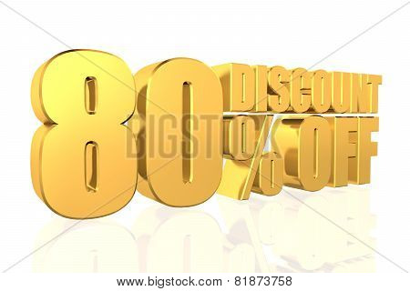 Discount 80 Percent Off. 3D Illustration.