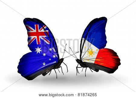 Two Butterflies With Flags On Wings As Symbol Of Relations Australia And Philippines