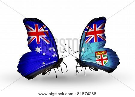 Two Butterflies With Flags On Wings As Symbol Of Relations Australia And Fiji
