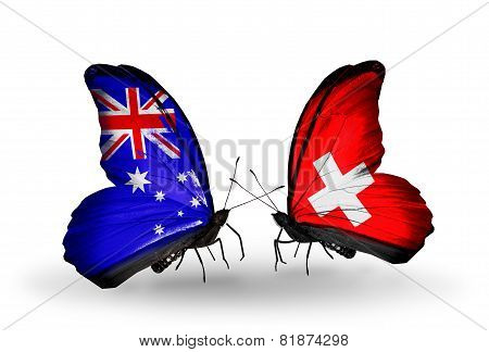 Two Butterflies With Flags On Wings As Symbol Of Relations Australia And Switzerland