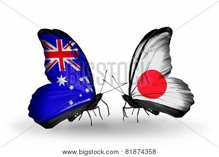 Two Butterflies With Flags On Wings As Symbol Of Relations Australia And Japan