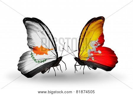 Two Butterflies With Flags On Wings As Symbol Of Relations Cyprus And Bhutan