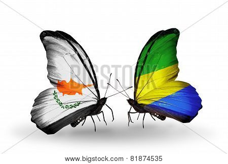 Two Butterflies With Flags On Wings As Symbol Of Relations Cyprus And Gabon