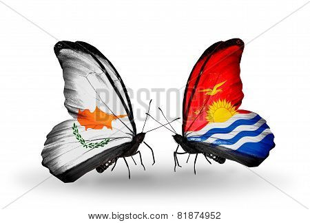 Two Butterflies With Flags On Wings As Symbol Of Relations Cyprus And Kiribati