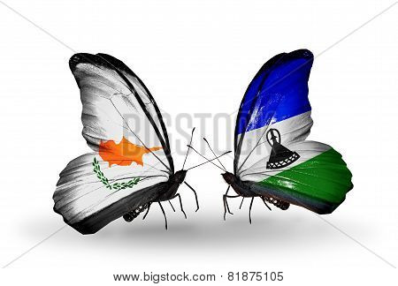 Two Butterflies With Flags On Wings As Symbol Of Relations Cyprus And Lesotho