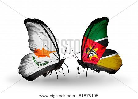 Two Butterflies With Flags On Wings As Symbol Of Relations Cyprus And Mozambique