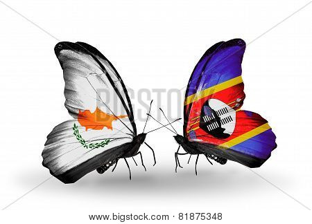 Two Butterflies With Flags On Wings As Symbol Of Relations Cyprus And Swaziland