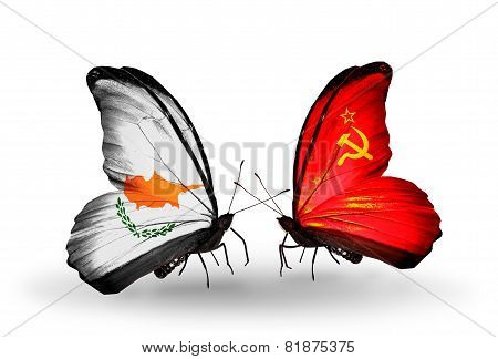 Two Butterflies With Flags On Wings As Symbol Of Relations Cyprus And Soviet Union