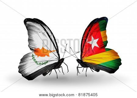 Two Butterflies With Flags On Wings As Symbol Of Relations Cyprus And Togo