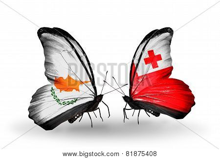 Two Butterflies With Flags On Wings As Symbol Of Relations Cyprus And Tonga