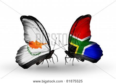 Two Butterflies With Flags On Wings As Symbol Of Relations Cyprus And South Africa