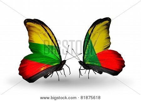 Two Butterflies With Flags On Wings As Symbol Of Relations Lithuania And Benin
