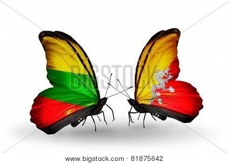 Two Butterflies With Flags On Wings As Symbol Of Relations Lithuania And Bhutan