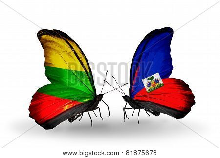 Two Butterflies With Flags On Wings As Symbol Of Relations Lithuania And  Haiti