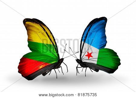 Two Butterflies With Flags On Wings As Symbol Of Relations Lithuania And Djibouti