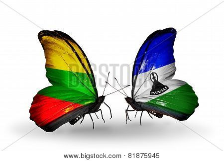 Two Butterflies With Flags On Wings As Symbol Of Relations Lithuania And Lesotho