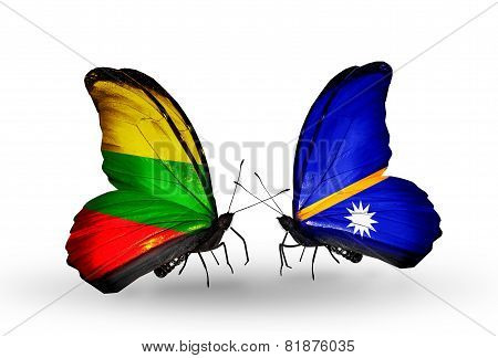 Two Butterflies With Flags On Wings As Symbol Of Relations Lithuania And Nauru