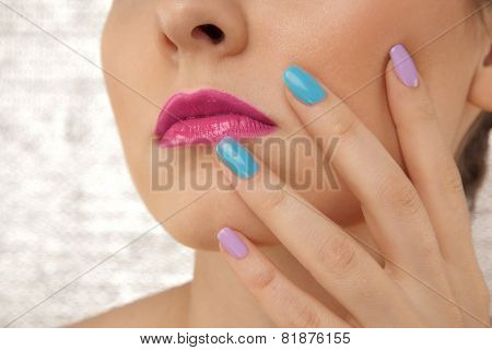 Closeup Of Woman's Face With Hand