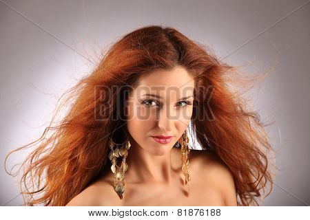 Red Haired Girl With Flying Hair