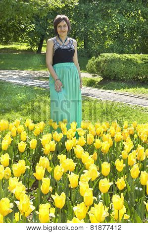 Lady With Yellow Tulips