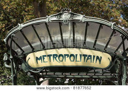 Paris - Famous Art Nouveau sign for the Metropolitain underground system
