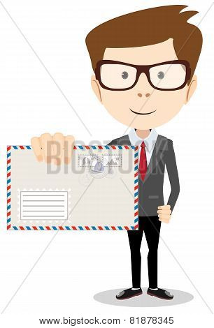 Modern postman delivered a letter to you, vector illustration