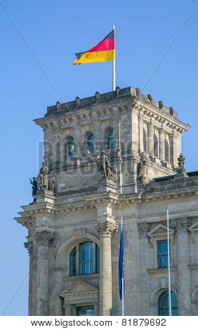 Berlin Reichstag with flag