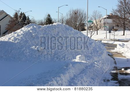 Snow Pile on Moon Lake Boulevard in Hoffman Estates, Illinois After Chicago Blizzard of 2015