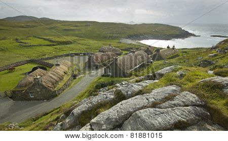 Traditional Scottish Black Houses. Garenin. Lewis Isle. Uk