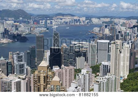 Cityscape of the Hong Kong city in Hong Kong, China.